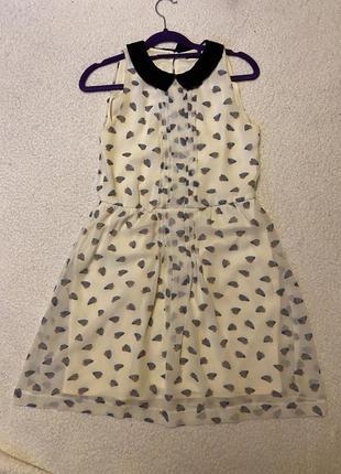 Милое молочное платье с воротничком😍