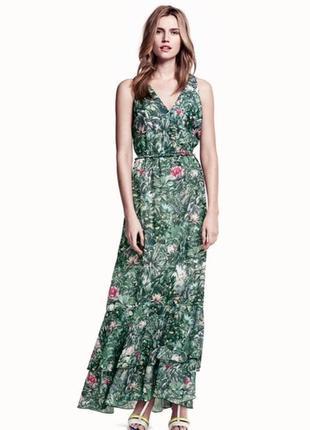 Платье макси стильное цветочное с воланами h&m uk 10/38/s