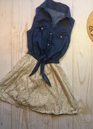Платье джинс + гипюр от atmosphere