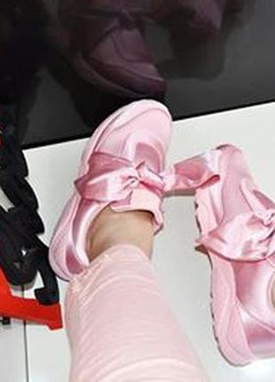 Кроссовки польша пудра/ розовые с бантом
