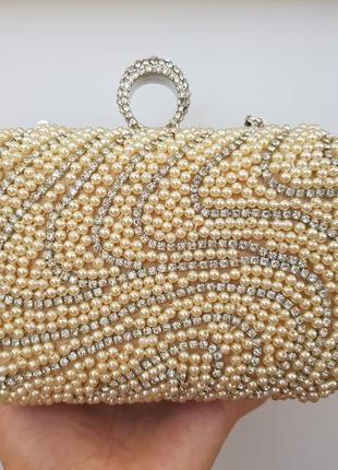 Красивейший вечерний женский клатч бежевый сумочка на плечо камни бисер