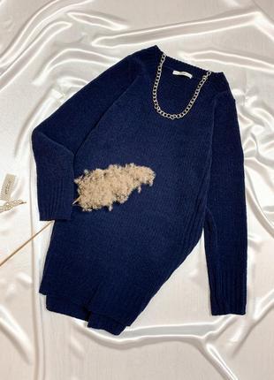 Удлиненный свитер с плюшевой пряжи