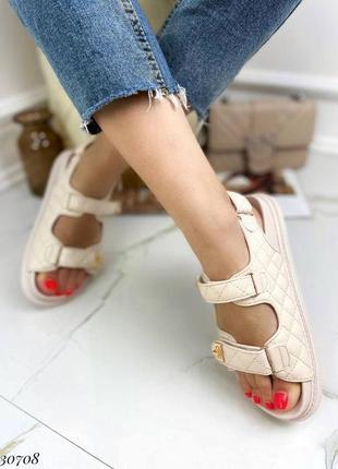 Босоножки боссоножки сандалии бежевые на липучках эко кожа трендовые4 фото