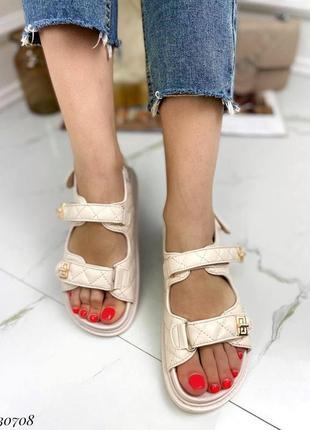 Босоножки боссоножки сандалии бежевые на липучках эко кожа трендовые2 фото