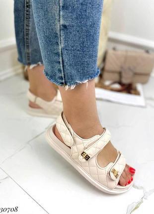 Босоножки боссоножки сандалии бежевые на липучках эко кожа трендовые6 фото