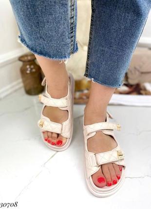 Босоножки боссоножки сандалии бежевые на липучках эко кожа трендовые3 фото