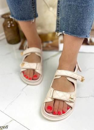 Босоножки боссоножки сандалии бежевые на липучках эко кожа трендовые5 фото