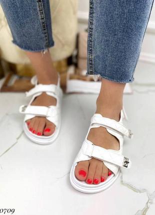 Босоножки боссоножки сандалии белые на липучках эко кожа трендовые