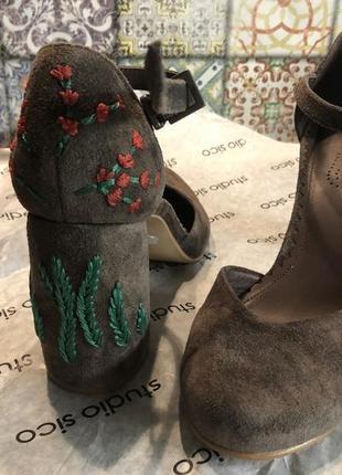 Туфли босоножки на каблуке , велюровая кожа hameleonshoes (киев)