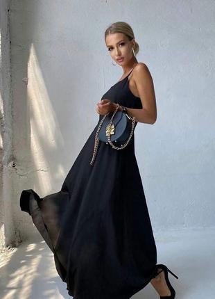 Черное платье , пышное платье , платье на бретелях , черное вечернее платье
