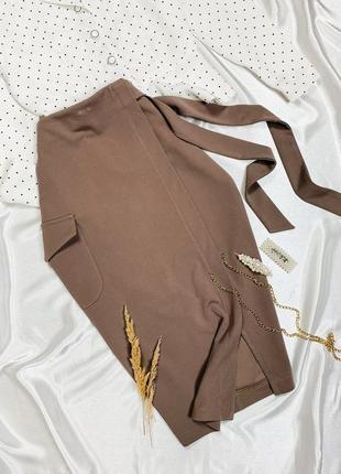 Бежевая юбка - миди карандаш