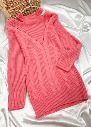 Вязаная розовая  свитер - туника