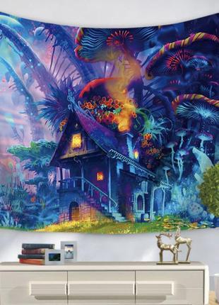 Картина гобелен текстильный дом в волшебном лесу