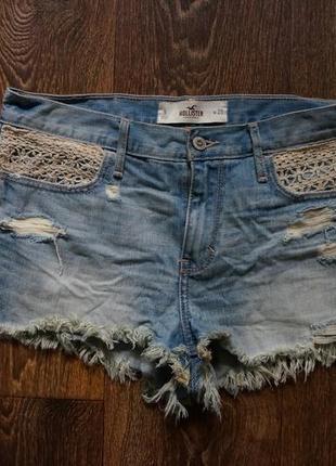 Стильные шорты джинсовые потертые hollister