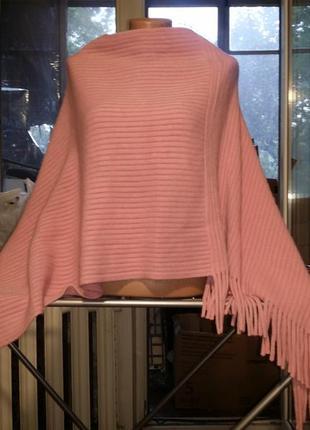 Розовая пудровая накидка с бахромой пончо пончо-свитер  с кистями  tcm