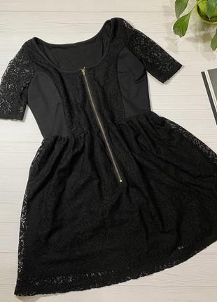 Платье чёрное, сверху гипюровое