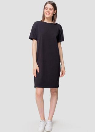 Чёрное платье футболка next, вискоза, натуральная ткань