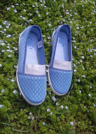 Женские голубые слипоны сетка