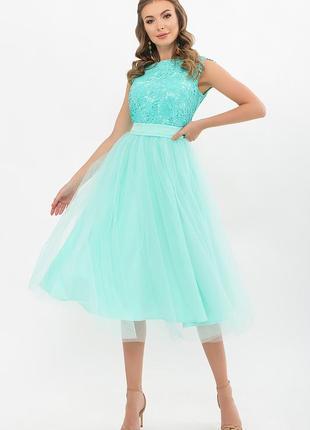 Пышное платье миди 3 цвета