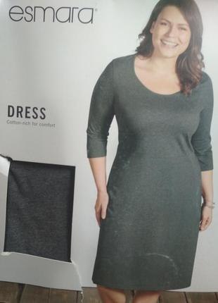 Батал! классное комфортное хлопковое платье esmara серого цвета, р. l-3xl