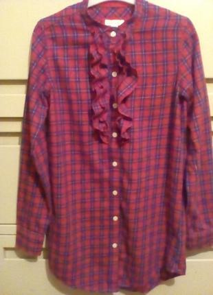 Блуза фланелевая в клетку с воланом размер 6-8