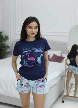 Акция🔥 хлопковая легкая пижама/домашний костюм шорты и футболка 42-50