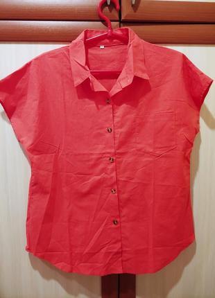 Шикарная караловая блузка грудь 55см
