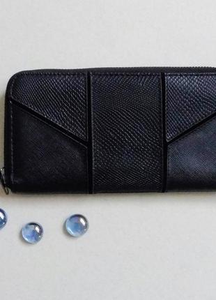 Черный портмоне,кошелек на молнии
