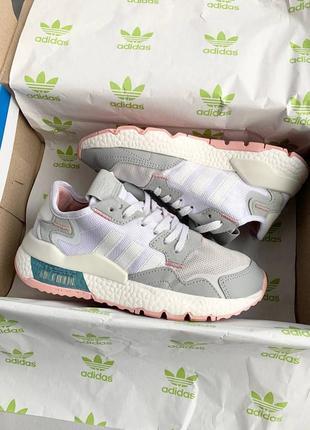 Adidas nite jogger one light grey pink, женские кроссовки адидас