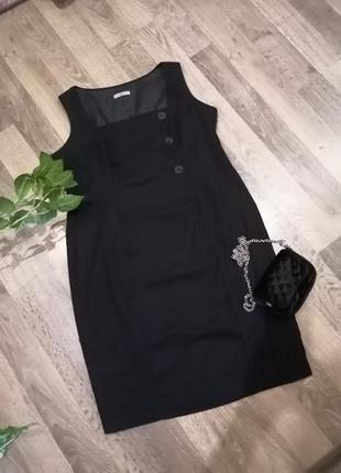 Шикарное чёрное платье сукня сарафан. лён, вискоза. marks&spencer