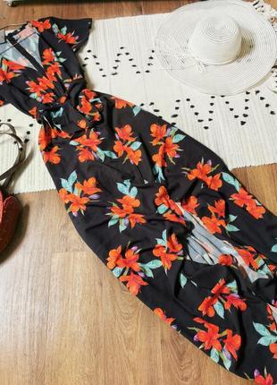 Шикарна максі сукня з вирізом missguided длинное макси платье в цветы