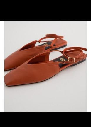 Кожаные босоножки слингбеки мюли сандали zara