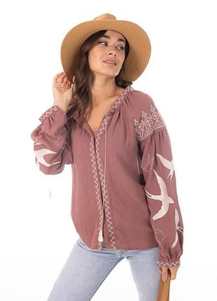 Женская вышиванка с ласточками и геометрией , блузка, рубашка, украинская , символ украины, кофта