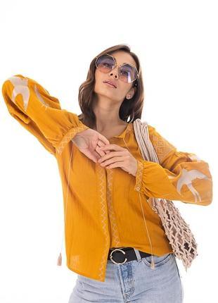 Женская вышиванка с ласточками и геометрией , блузка, рубашка, украинская , символ украины