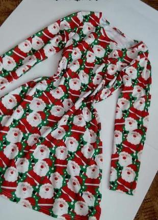 Женское платье  46 размер на новый год рождество с санта клаусом дедом морозом jingle bells миди