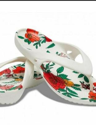 Шлепки вьетнамки crocs kadee ii printed floral flip, оригинал