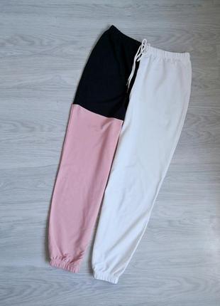 Трендовое джогеры колор блок розовый белый черный