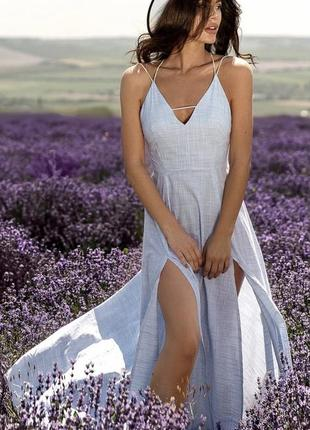 Сарафан блакитний з льону