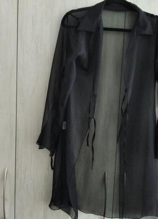 Чорна сорочка-накидка з поліестеру