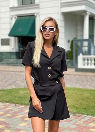 Костюм женский шорты-юбка и пиджак с плечиками и с коротким рукавом