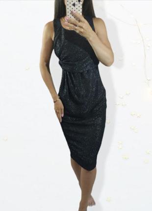 Вечернее черное блестящее платье asos