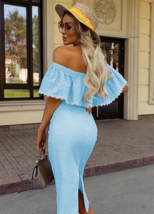 Сарафан летнте платье миди летний лёгкий с открытыми плечами на резинке с поясом рюшами по фигуре приталенное с разрезом сзади