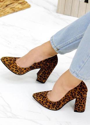 Леопардовые туфли кожа каблук