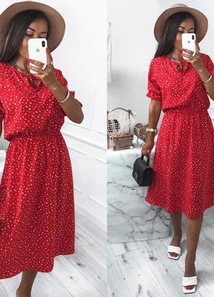 42-52🌺расцветки🌈платье миди красивое стильное летнее модное горохи