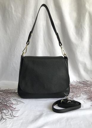 Сумка кожаная на длинном ремешке черная , пр-во италия, genuine leather