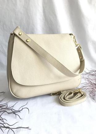 Сумка кожаная на длинном ремешке, бежевая, беж, пудра, молоко, genuine leather сумка жіноча шкіряна