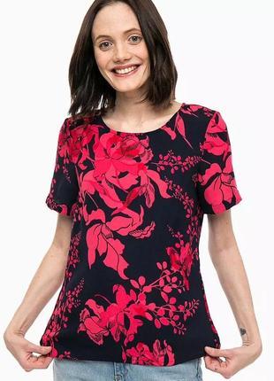 Блуза футболка короткий рукав в цветочный принт яркая летняя vero moda