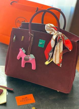 ❤ женская бордовая замшевая сумочка сумка hermès birkin '35  ❤