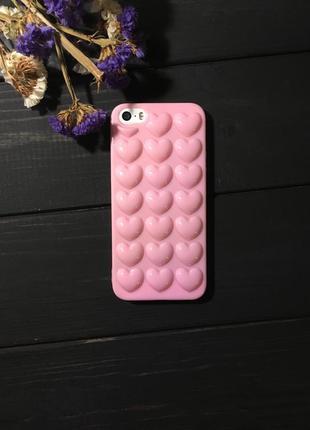 Силиконовый чехол с сердечками на iphone 5/5s se
