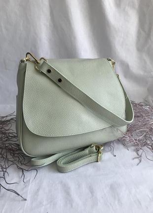 Сумка кожаная на длинном ремешке, светло зеленая, пр-во италия, genuine leather сумка жіноча шкіряна